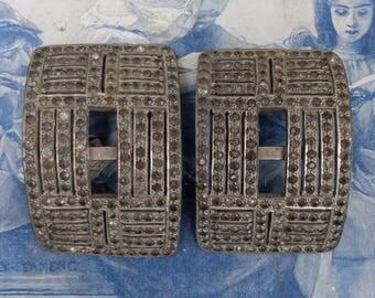 Vintage Rhinestone Shoe Buckle Pair