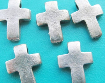 Greek cross crucifix small pewter slider spacer beads x 5