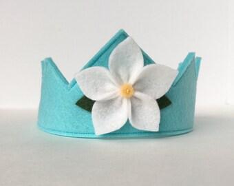 Wool Felt Crown -- Fairy Child crown in 100% merino wool-- aqua with white flower