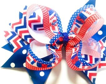 4th Of July Boutique Hair Bow - Patriotic Hair Bow - Girls Hair Bows - Boutique Bow - Stacked Hair Bow - Red White Blue - July 4th - Layered