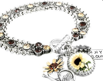 Silver Sunflower Jewelry - Sunflower Bracelet -  Charm Bracelet - Autumn Bracelet