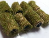 I think we might be the only beads with moss growing on our backside. Here. On Etsy. Textile bead, dread fairy garden barrel log tube,