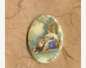 November Sale - Two Vintage German 40x30mm Romantic Lovers Acrylic Cabs (59-14F-2)