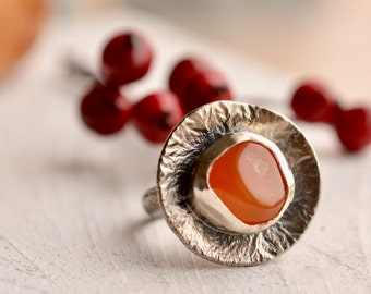 Organic Reticulated Silver Ring, Carnelian Ring, Primitive Style Jewelry, Weathered Jewelry, Handmade Oxidized Silver Ring, Boho Style