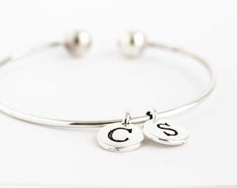 Charm Bracelet -  Simple Initial Bracelet - Sterling Silver Bangle - Modern Bracelet - Simple Bracelet - Birthday Gift -Personalized Jewelry