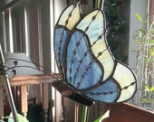 Purple and Yellow Stained Glass Butterfly with wire work and decorative solder Garden Stake, Plant Stake, Garden Decoration, Tiffany style