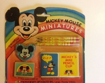 Vintage Mickey Mouse Minitures Pencils Eraser Sharpener Disney