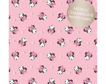 Camelot, Minnie Mouse, Pink Face Dot, Metallic print, yard
