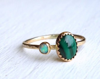 Malachite and Opal Big/Little Ring - 14k Yellow Gold Two Stone Ring Handmade