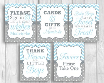 Light Blue and Gray 8x10 Printable Boy's Baby Shower Sign Bundle - Guest Book, Gift Table, Favor Table, Etc - Instant Download