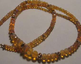 Premium Honey Golden FACETED Ethiopian Opal  neckalce.........   19  inch .........      e982