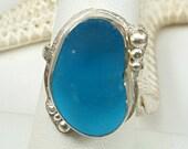 Sea Glass Jewelry Sea Glass Ring Aqua Turquoise Blue Sea Glass Ring Blue Beach Glass Ring Beach Glass Jewelry Size 7  - R-113