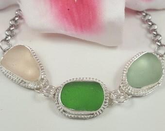 Sea Glass Jewelry Sea Glass Bracelet Beach Glass Bracelet Size 8 - B-246