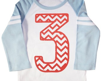 Chevron Stripe Third Birthday Shirt Long Sleeve Raglan Kids 3rd Birthday Jersey T-shirt