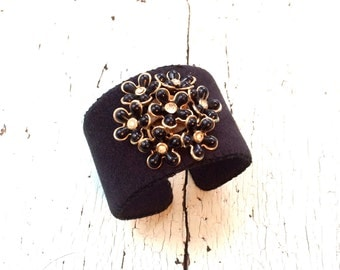 Black Ultrasuede and Enamel and Rhinestone Adjustable Cuff