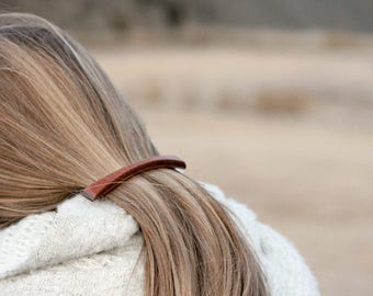 Plateau Barrette | Long Thin Barrette | long skinny wood hair clip | french barrette | Mahogany + Walnut Wood