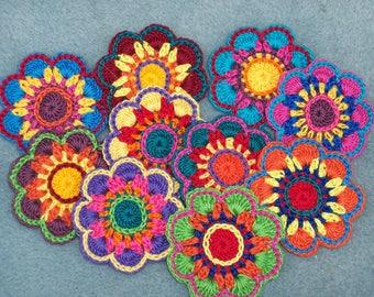 10 handmade cotton thread crochet applique flowers -- 2620
