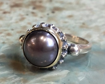 Black pearl ring, Engagement ring, simple ring, crown ring, Two tones ring, silver gold ring, organic ring, gypsy ring - Calm spirit R2429