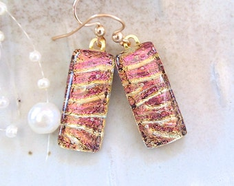 Pink Earrings, Gold, Dichroic Glass Earrings, Glass Jewelry, Dangle, Gold Filled, A2