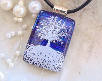 Tree of Life Dichroic Glass Pendant, Fused Glass, Cobalt Blue, Enamel, Necklace Included, A1