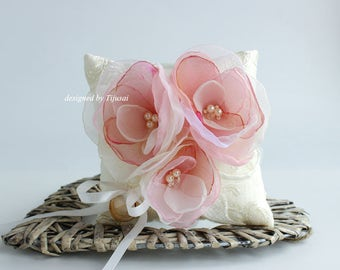Ivory  Wedding pillow with 3 pink/ivory flowers---ring bearer pillow, wedding rings pillow , wedding pillow, ready to ship