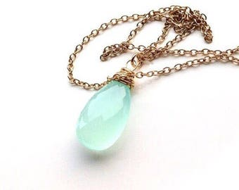 Micro Faceted Minimalist Aqua Chalcedony Wire Wrapped Pendant Necklace