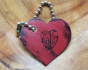 Heart Shaped Red Leather Key Chain Tag
