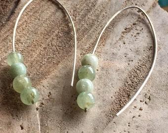 Modern prehnite earrings