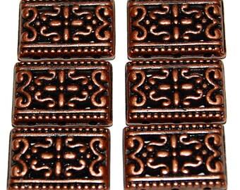 6 Antiqued Copper Filigree Pewter Metal Spacers