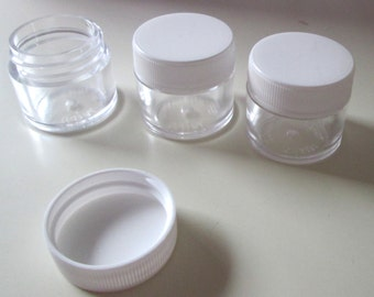 Small Jars plastic screw top clear jars 0.25 ounce size new destash supplies for crafting and storage 6 per order