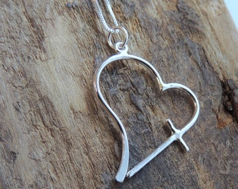 Sterling Silver Heart Cross Necklace Gift for her