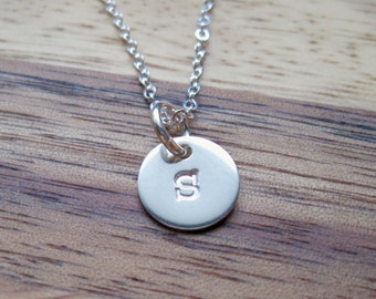 Sterling silver tiny disc necklace - 3/8 inch - Personalized Necklace - Initial Necklace- Sterling Initial- Initial Jewelry- Silver Initial