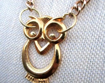 Night Owl Necklace - Repurposed vintage 1970's gold owl pendant on gold necklace - Free Shipping to USA
