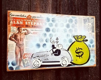 Richie Rich Original Graffiti Art Painting on Wood Panel RePurposed Ply Wood Vintage Toy Art Cartoon Vintage Comic Book