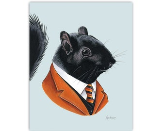Black Squirrel art print by Ryan Berkley Illustration 5x7