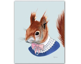Red Squirrel Woodland Art print for Kids Nursery or Fun Living Room by Ryan Berkley 8x10