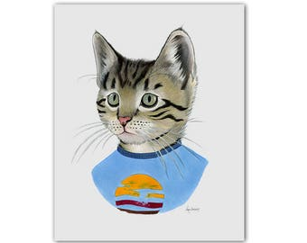 Tabby Kitten art print - Cat art - Pet Portrait - Animals in Clothes - Animal Art - Modern Nursery - Ryan Berkley Illustration 5x7