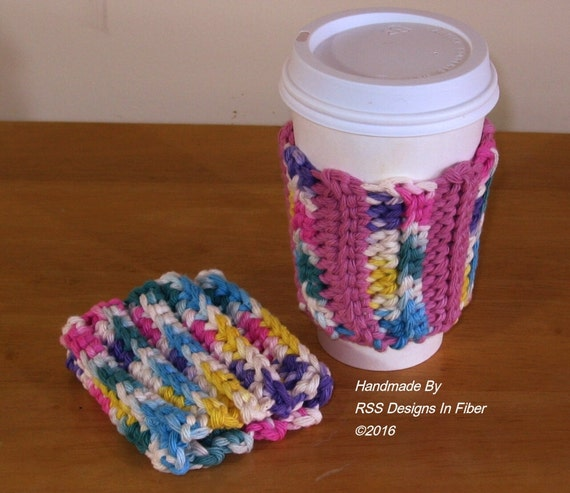 Funky Multi-Color Cup Cozy Set of 2 - 2 Reusable Cup Cozies with a Mix of Pink, Yellow, Green, Blue, Purple and White - Colorful Accessory
