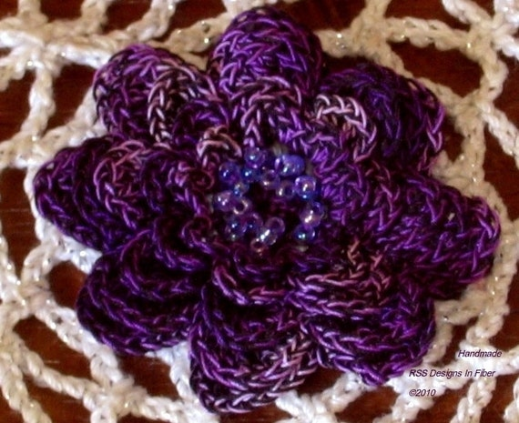 Purple and Black Flower Jewelry Brooch or Pendant or Applique - Crocheted Beaded Flower with Lavender Crystal Beads on 5 Layers of Petals
