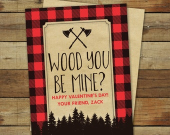 Lumberjack axe valentine cards, printable buffalo plaid, wood you be mine valentines are editable pdf files and instant downloads
