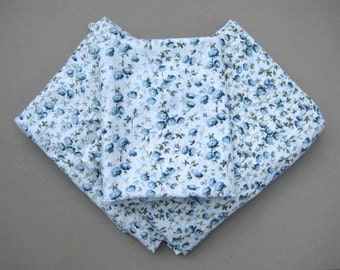 Vintage Pequot Twin Floral Sheet Set Blue & White Cornflower Vintage Muslin Bedsheets and Pillow Case 3 Pieces