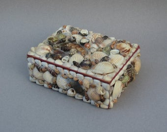 Vintage Seashell Box Large Shell Covered Wood Trinket Box Beach House Decor Red Velvet Lining