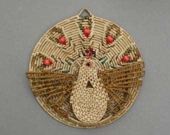Wall Basket Woven Straw Letter Basket Peacock Wall Hanging Chicken Mail Basket 1970s Vintage Boho Decor