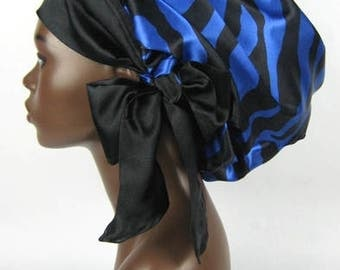 Sweet Sleep Satin Sleep Cap-Bonnet-Zebra Sapphire Blue and Black-Natural Hair Accessories-Charmeuse