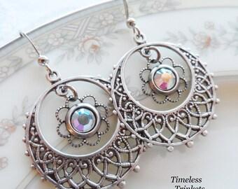 1/2 price sale - Aurora Borealis Swarovski Crystal and Silver Ox Filigree Earrings