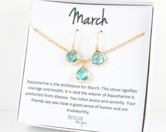 Tiny March Birthstone Gold Necklace and Earring Set, Aquamarine Gold Necklace, March Birthday Jewelry, Personalized Gold Necklace