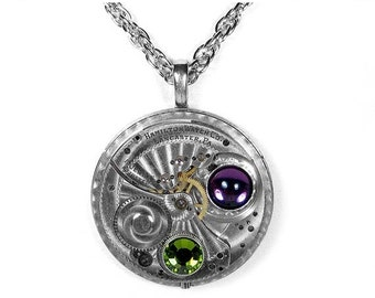 Steampunk Jewelry Necklace HAMILTON Pocket Watch Amethyst Peridot SWAROVSKI Crystals Womens Valentine Gift For Her - Jewelry by edmdesigns