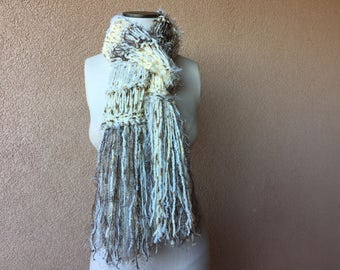 Long ivory scarf with taupe, cream, yellow beige sparkle fringe 7 feet long scarf. Cream scarf, cream and brown scarf, brown and cream scarf