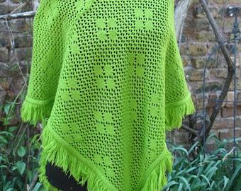 Bright green poncho flower knit fringe