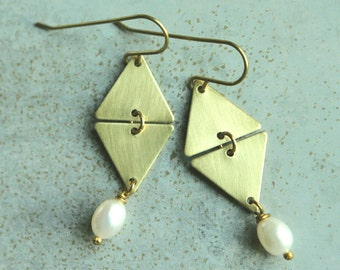 Brass and Pearl Earrings, White Pearl Drop Earrings, Everyday Earrings Geometric Dangle